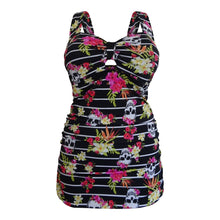 Load image into Gallery viewer, Tropical skull alt funky longer length tankini top skull and floral pattern on black front