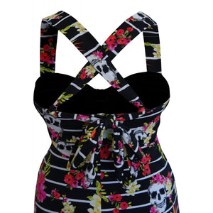 Tropical skull alt funky longer length tankini top skull and floral pattern on black black with cross back detail