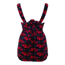 Load image into Gallery viewer, vintage and retro black with red butterflys longer length control tankini back straps