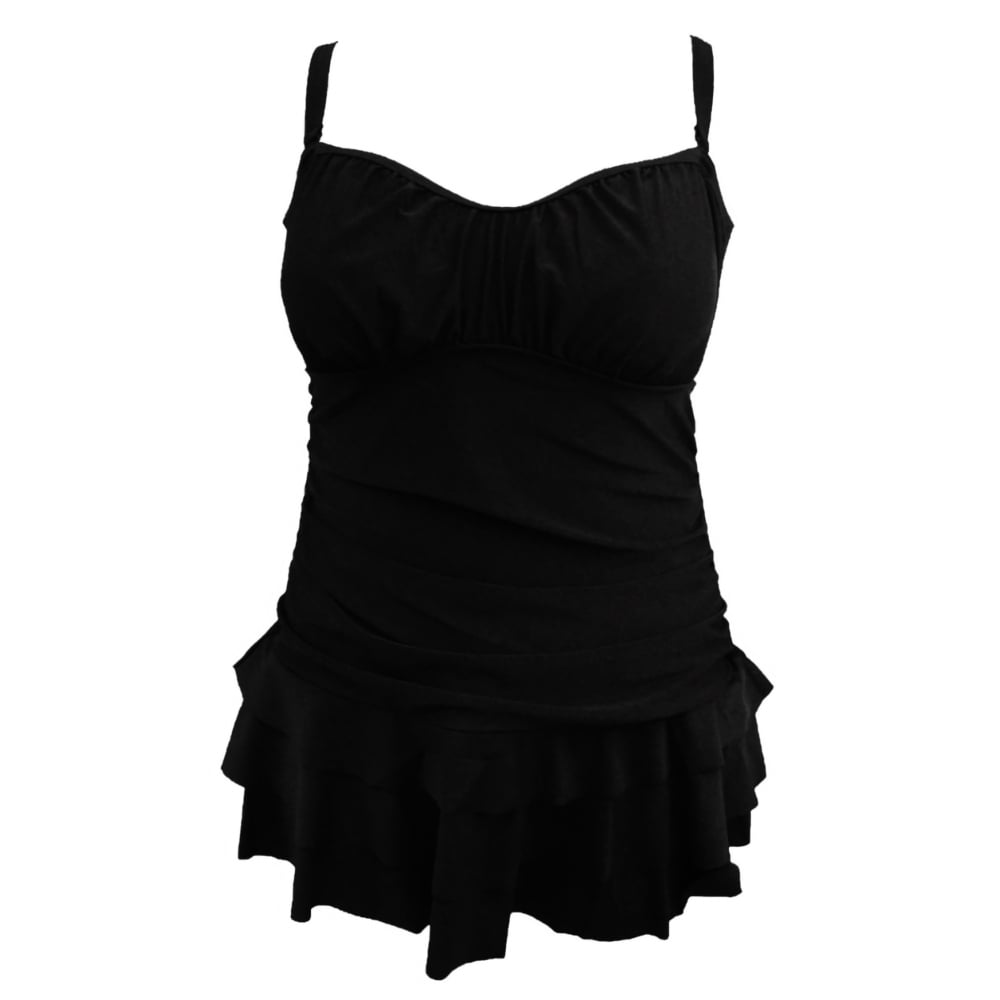 Multiway/Strapless Tummy Control Black Swimdress