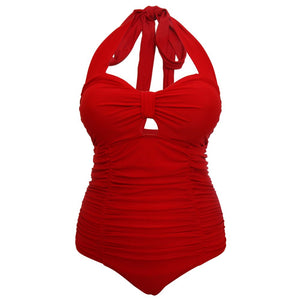 vibrant red 1950s retro vintage style swimsuit with tummy control and ruching back with halter strap tie