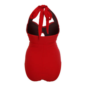 vibrant red 1950s retro vintage style swimsuit with tummy control and ruching front as halter