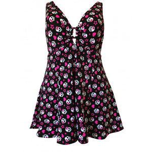 Skull Heart rockabilly alt fun print plus size swimdress front