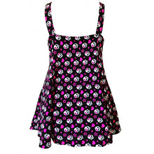 Load image into Gallery viewer, Skull Heart rockabilly alt fun print swimdress back