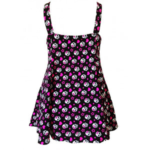 Skull Heart rockabilly alt fun print swimdress back