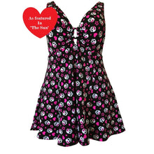 Load image into Gallery viewer, Skull Heart rockabilly alt fun print swimdress front as seen on The Sun