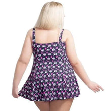 Load image into Gallery viewer, Skull Heart rockabilly alt fun print swimdress modelled by woman back