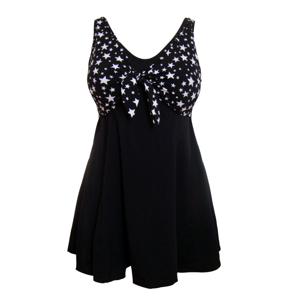 Black vintage retro style starry celestial sailor swimdress with bow detail front