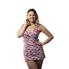 Load image into Gallery viewer, Woman facing camera wearing longer length tankini set/ swimdress with funky alt lips pattern in black white and red