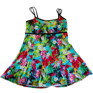 Bright tropical bird and flowers hawaii print swimdress with spaghetti straps and bow detail front flat splayed out