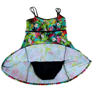 Bright tropical bird and flowers hawaii print swimdress with spaghetti straps and bow detail front flat showing lining and brief