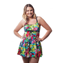 Load image into Gallery viewer, Happy woman modelling bright tropical hawaii print swimdress with spaghetti straps and bow detail front