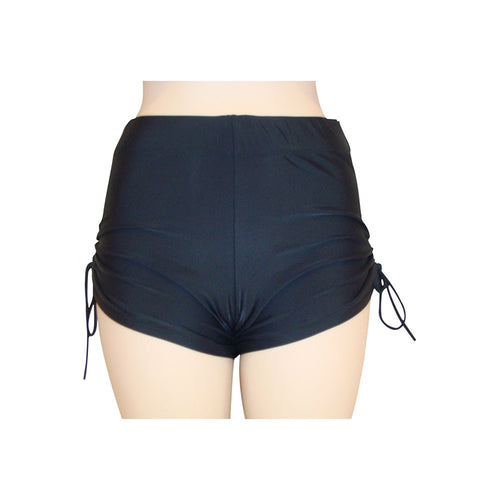 black swimshort cinch side and wide waistband modelled front