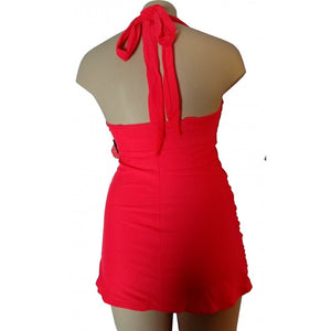 Neon Coral longer length vibrant 1950s vintage and retro style tankini back as halter on mannequin