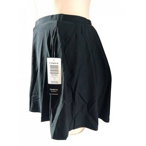 Black Skater flared swim skirt side on mannequin