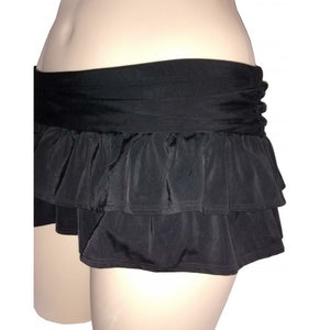 Black short frilly swim skirt/ briefs side on mannequin