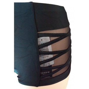 High Waisted black swim bottoms with mesh and criss cross side detail close up on side seaming and mesh