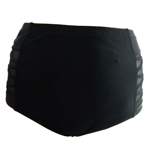 High Waisted black swim bottoms with mesh and criss cross side detail front