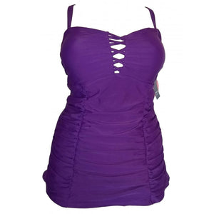 Longer length vibrant purple lattice cleavage detail with ruching and adjustable straps front