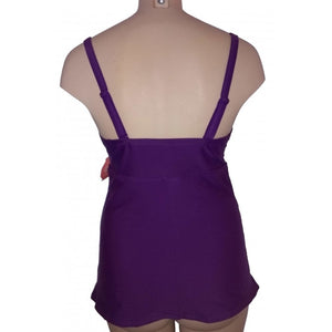 Longer length vibrant purple lattice cleavage detail with ruching and adjustable straps traditional back style on mannequin back
