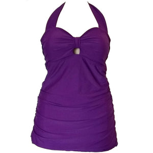 vintage and retro purple long length tankini top front