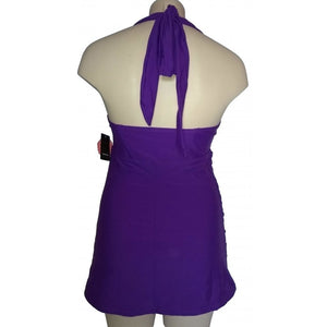 vintage and retro purple long length tankini top back on mannequin