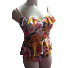 Load image into Gallery viewer, Mustard retro vintage floral swimsuit with ruffle and peplum on mannequin front