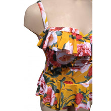 Load image into Gallery viewer, Mustard retro vintage floral swimsuit with ruffle and peplum on mannequin front closeup