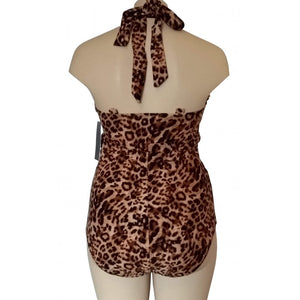 Vintage retro cream and brown leopard animal print swimsuit rear display with straps tied behind neck