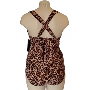 Vintage retro cream and brown leopard animal print swimsuit rear display with straps crossed over the back
