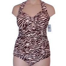 Load image into Gallery viewer, Vintage retro cream and brown zebra animal print swimsuit displayed on a mannequin from the front