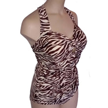 Load image into Gallery viewer, Vintage retro cream and brown zebra animal print swimsuit displayed on a mannequin from the side