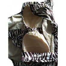 Load image into Gallery viewer, Vintage retro cream and brown zebra animal print swimsuit displaing lining