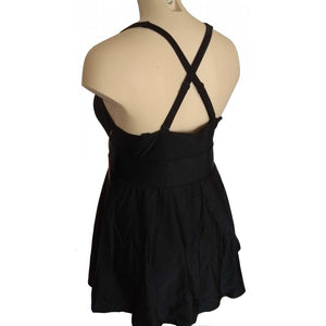 Sexy classic skater style swimdress with deep V neckline and adjustable straps front back with cross back strap on mannequin