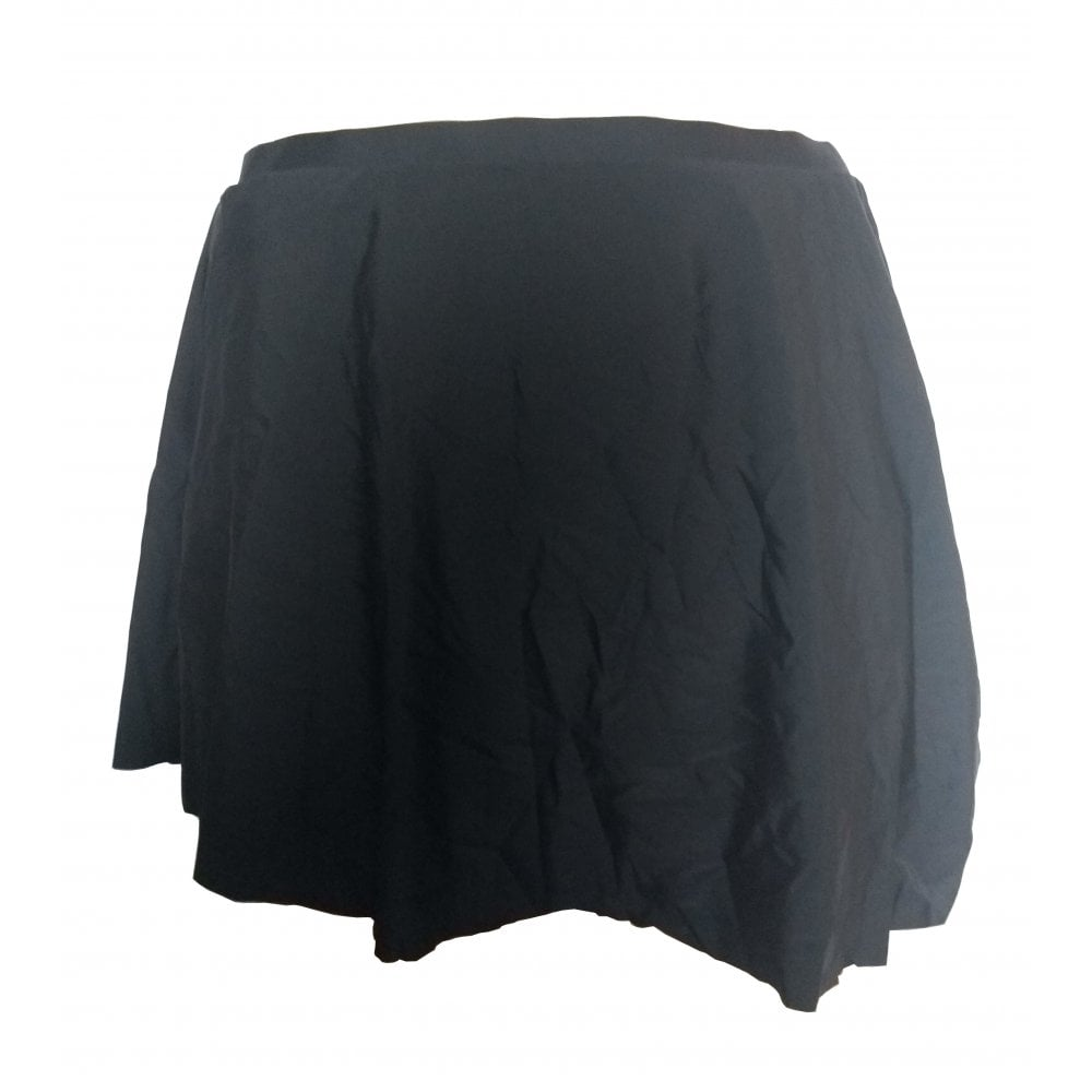 Black Skater assymmetric swim skirt tie side detail front