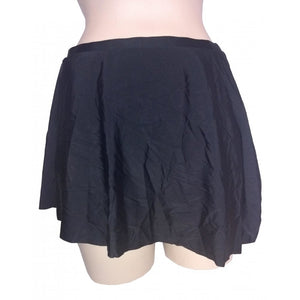 Black Skater assymmetric swim skirt tie side detail back on mannequin