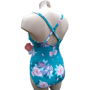 Teal retro vintage floral swimsuit with strappy neckline on mannequin back
