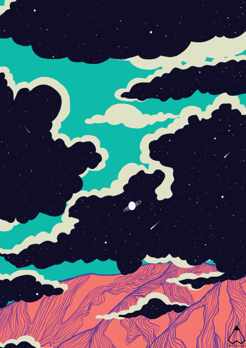 Galaxy-mountains-clouds-Ishtha-Kapoor