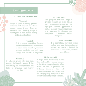 Key ingredients of the rejuvenating Vitamin ACE moisturiser