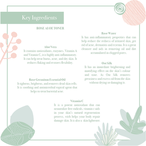 Key ingredients of the balancing, soothing, hydrating rose & aloe toner