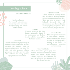 Key Ingredients of the  luxurious Pro-Age eye cream