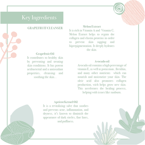 Key ingredients of the rejuvenating & hydrating grapefruit cleanser