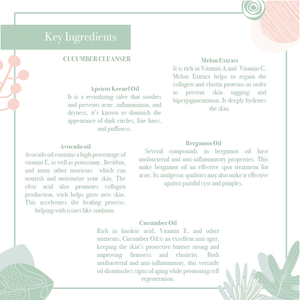 Key ingredients the hydrating soothing cucumber cleanser with vitamin K & B5