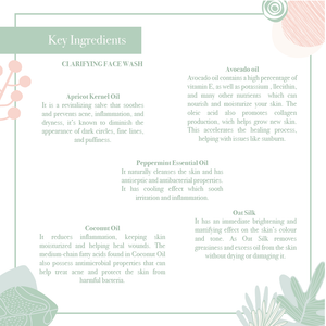 Key ingredients of the luxurious revitalising effective nourishing clarifying face wash