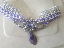 Load image into Gallery viewer, Purple Swarovski Crystal Dragonscale Weave Choker Necklace