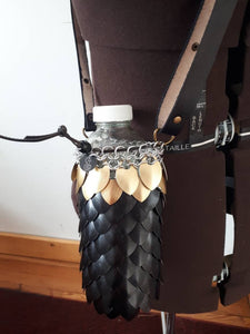 Scalemail Waterbottle Holder - Dragonscale Waterbottle Carrier/Sling - Made to Custom Order