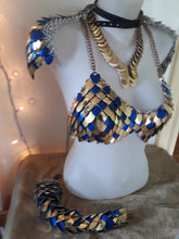 Load image into Gallery viewer, Egyptian Scalemail Bra, Epaulets and Tail Set - Ready to Ship