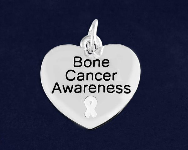 10 Bone Cancer Awareness Heart Charms (10 Charms) - Fundraising For A Cause