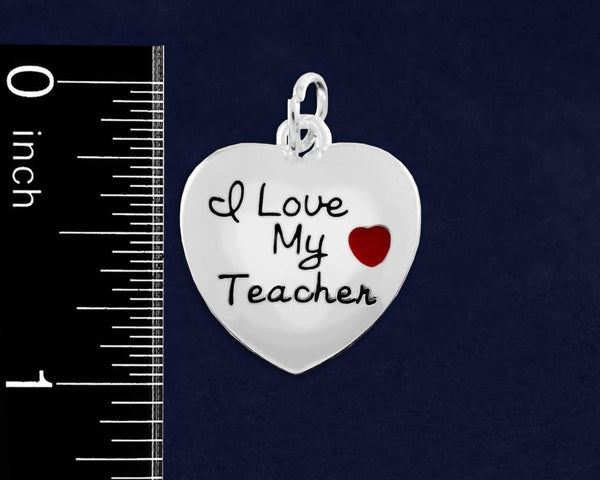 10 I Love My Teacher Heart Charms (10 Charms) - Fundraising For A Cause