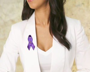 Alzheimer's Awareness Satin Ribbon Pins - Fundraising For A Cause